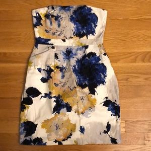 Jcrew strapless dress in water color print